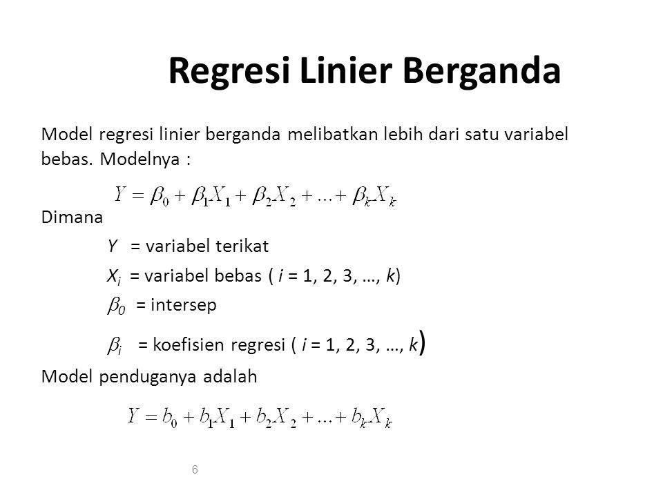 Regresi Linier Berganda Model regresi linier berganda melibatkan lebih dari satu variabel bebas. Modelnya : Dimana Y = variabel terikat X i = variabel