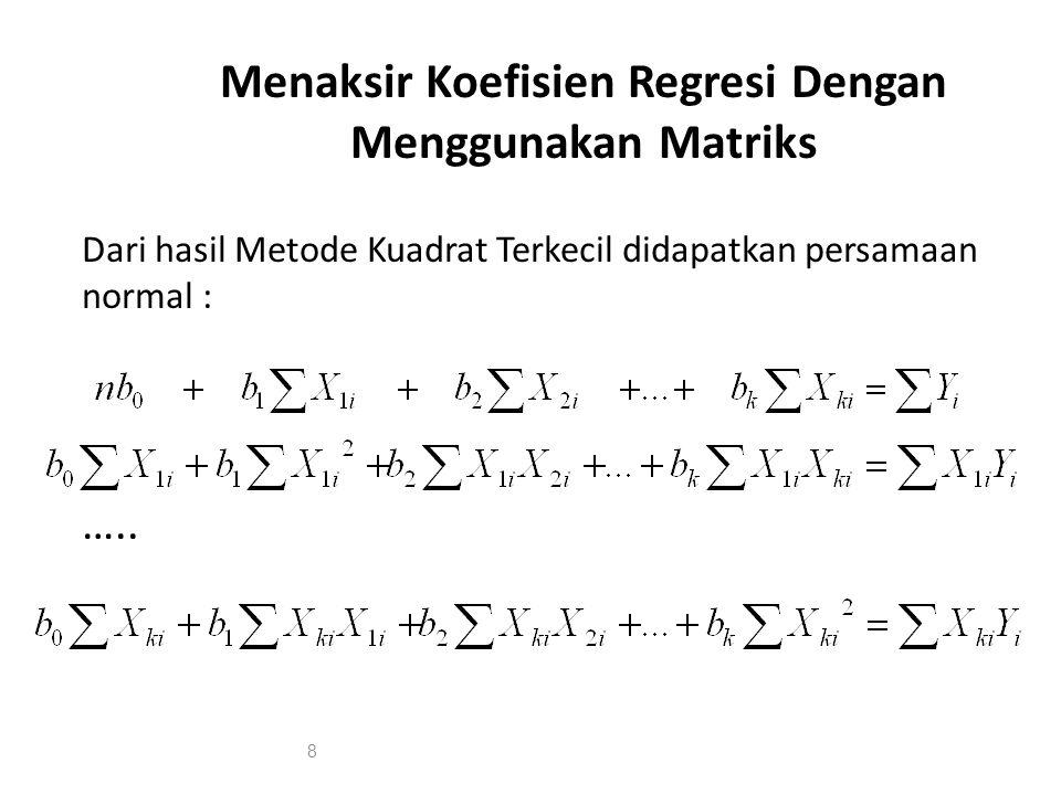 Menaksir Koefisien Regresi Dengan Menggunakan Matriks Dari hasil Metode Kuadrat Terkecil didapatkan persamaan normal : ….. 8