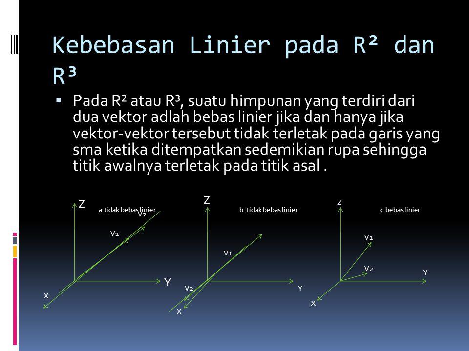 Kebebasan Linier pada R² dan R³ PPada R² atau R³, suatu himpunan yang terdiri dari dua vektor adlah bebas linier jika dan hanya jika vektor-vektor t