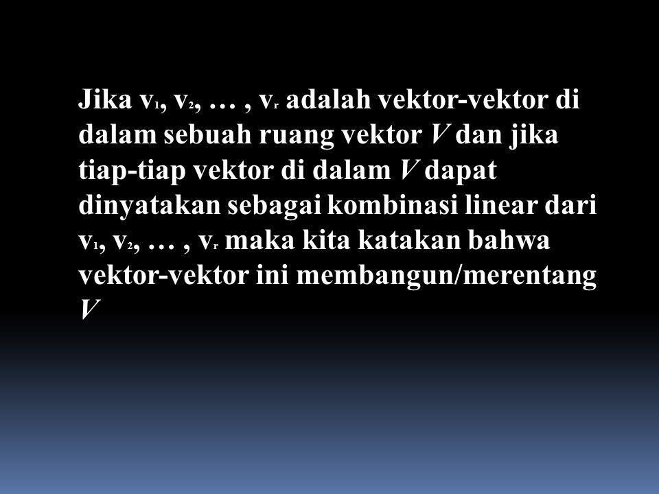 Jika v 1, v 2, …, v r adalah vektor-vektor di dalam sebuah ruang vektor V dan jika tiap-tiap vektor di dalam V dapat dinyatakan sebagai kombinasi line