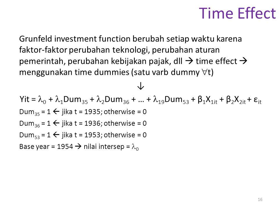 Time Effect Grunfeld investment function berubah setiap waktu karena faktor-faktor perubahan teknologi, perubahan aturan pemerintah, perubahan kebijak
