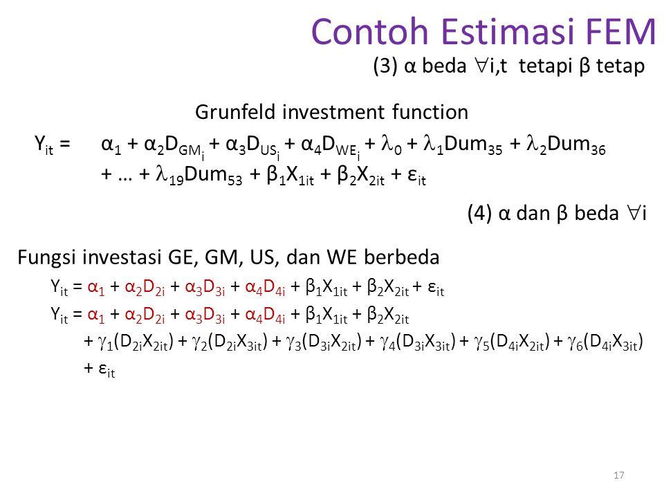 Contoh Estimasi FEM Grunfeld investment function Y it = α 1 + α 2 D GM i + α 3 D US i + α 4 D WE i + 0 + 1 Dum 35 + 2 Dum 36 + … + 19 Dum 53 + β 1 X 1