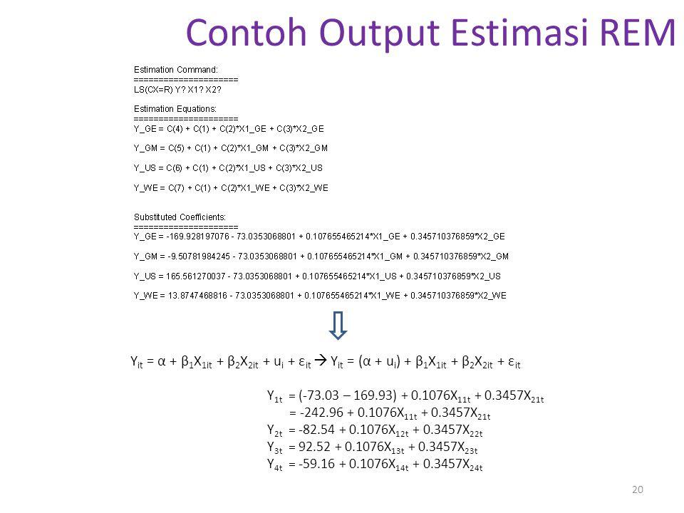 Contoh Output Estimasi REM 20 Y it = α + β 1 X 1it + β 2 X 2it + u i + ε it  Y it = (α + u i ) + β 1 X 1it + β 2 X 2it + ε it Y 1t = (-73.03 – 169.93