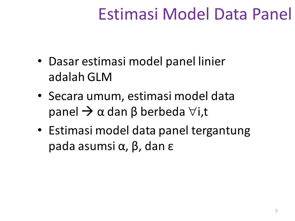 Estimasi Model Data Panel Beberapa kemungkinan estimasi: 1.Asumsi α dan β tetap  i,t 2.Asumsi α berbeda  i tetapi β tetap 3.Asumsi α berbeda  i,t tetapi β tetap 4.Asumsi α dan β berbeda  i 5.Asumsi α dan β berbeda  i,t 4