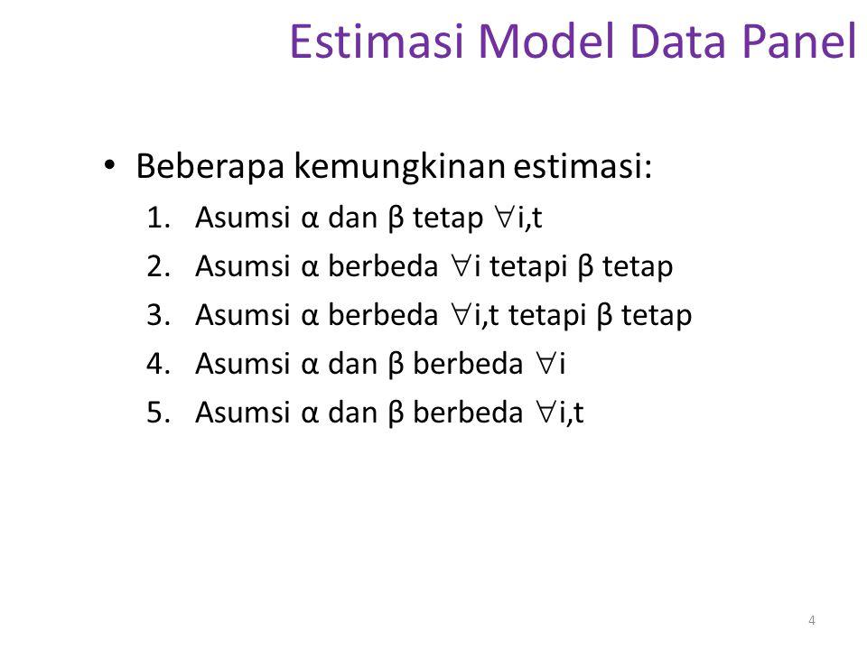 Estimasi Model Data Panel Beberapa kemungkinan estimasi: 1.Asumsi α dan β tetap  i,t 2.Asumsi α berbeda  i tetapi β tetap 3.Asumsi α berbeda  i,t t