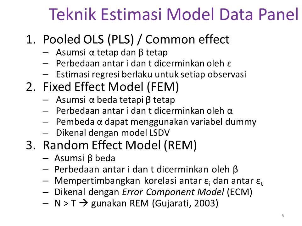 Teknik Estimasi PLS Asumsi (1): α dan β tetap  i & t Asumsi perilaku data antar individu sama di setiap waktu Teknik PLS = teknik OLS untuk data CS atau TS Kelemahan: tidak dapat menganalisis perbedaan antar individu dan antar waktu  tidak memperhatikan dimensi individu (i) dan waktu (t)  paramater β bias Model sederhana: Y it = α + βX it + ε it ; i = 1, 2, …, N; t = 1, 2, …, T ↓ Apakah asumsi α dan β tetap  i & t realistis.