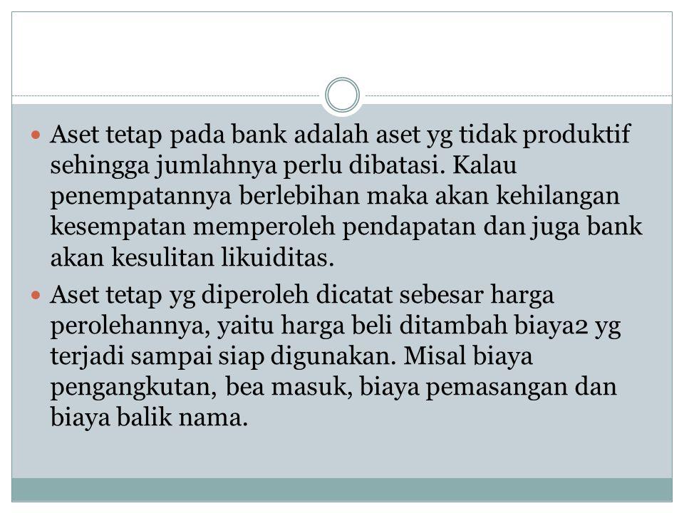 Aset tetap pada bank adalah aset yg tidak produktif sehingga jumlahnya perlu dibatasi. Kalau penempatannya berlebihan maka akan kehilangan kesempatan