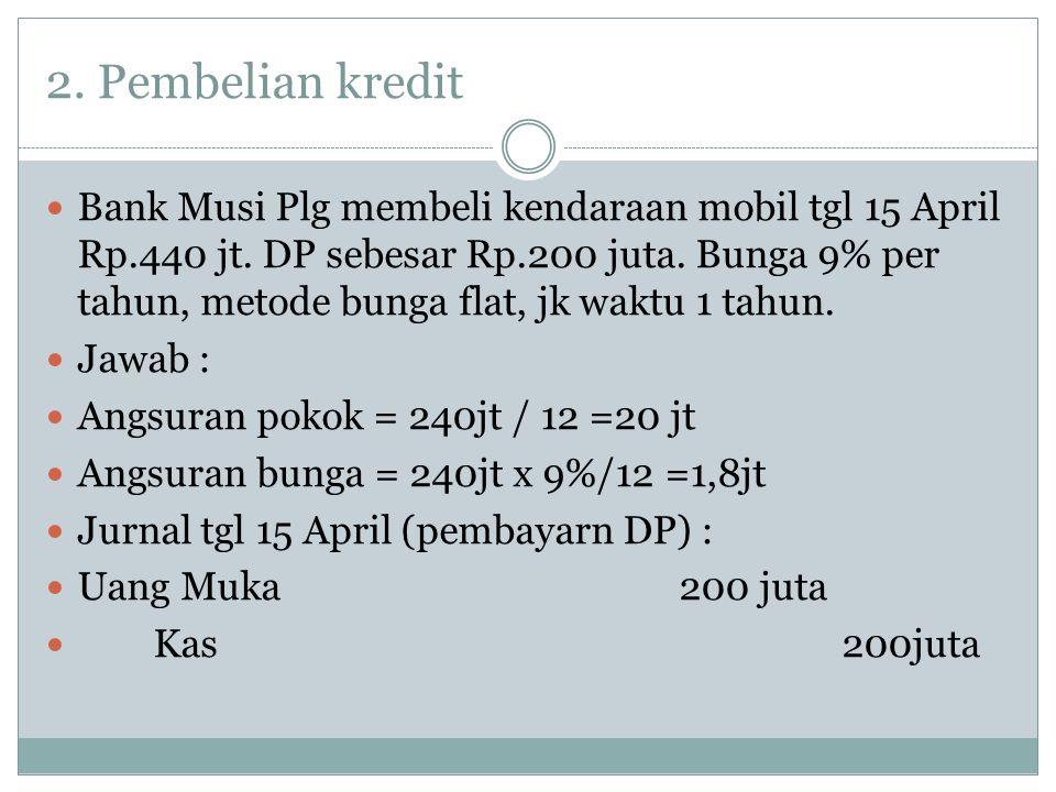 2. Pembelian kredit Bank Musi Plg membeli kendaraan mobil tgl 15 April Rp.440 jt. DP sebesar Rp.200 juta. Bunga 9% per tahun, metode bunga flat, jk wa