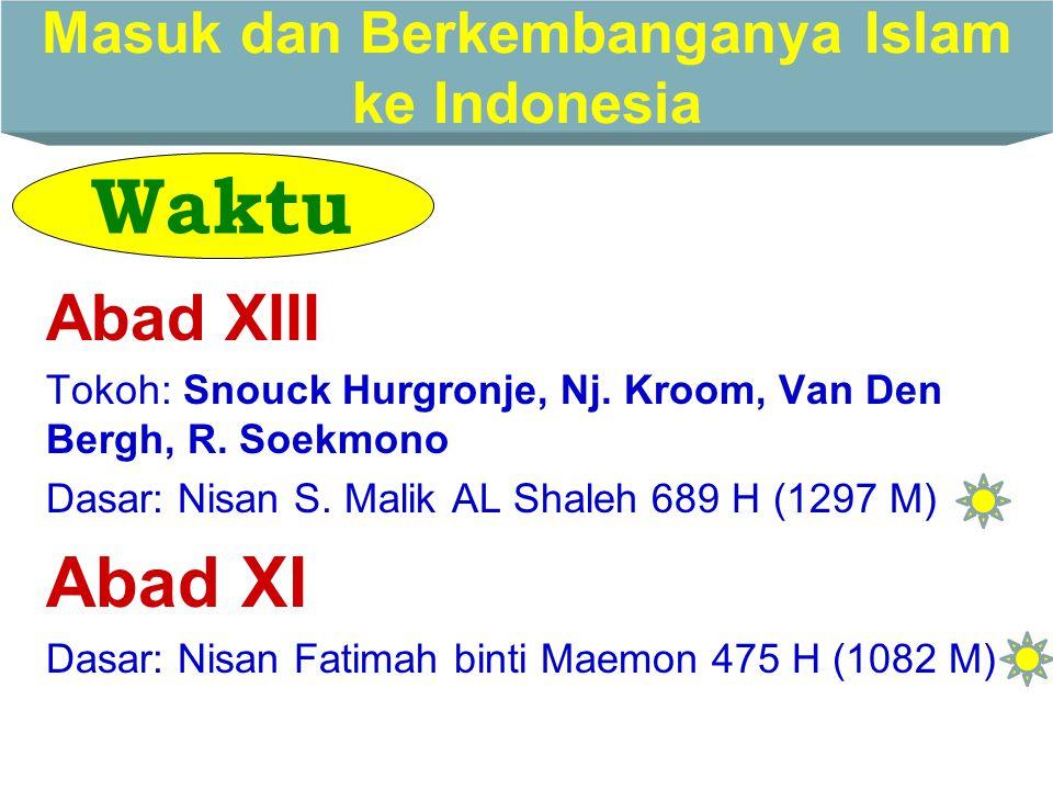 Masuk dan Berkembanganya Islam ke Indonesia ADA 2 MASALAH UTAMA YANG MENARIK  WAKTU Abad XIII Abad XI Abad VII-VIII  ASAL India (Gujarat) Cina Persi