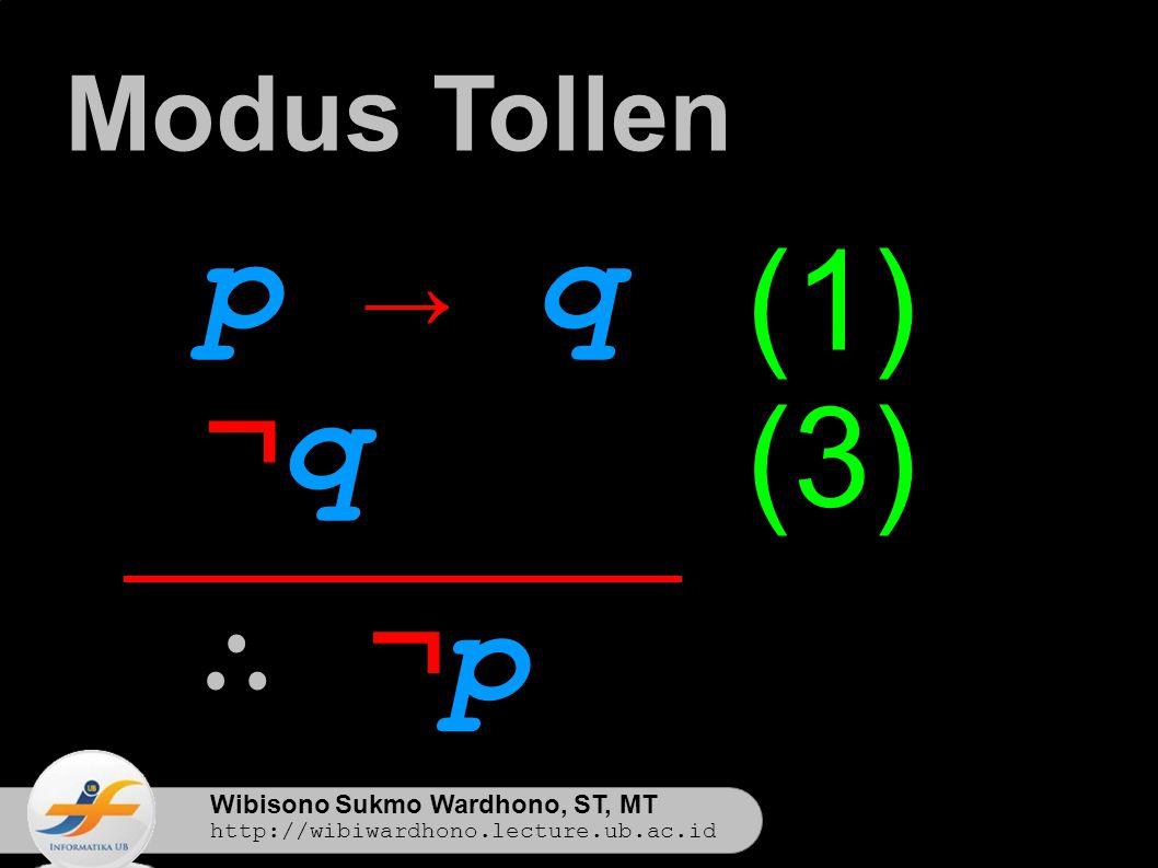 Wibisono Sukmo Wardhono, ST, MT http://wibiwardhono.lecture.ub.ac.id p → qp → q ¬q¬q ∴ ¬p∴ ¬p Modus Tollen (1) (3)
