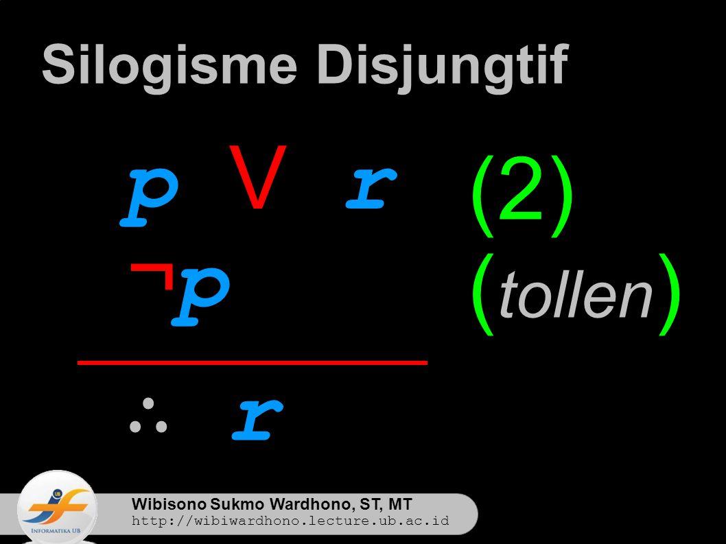 Wibisono Sukmo Wardhono, ST, MT http://wibiwardhono.lecture.ub.ac.id p V rp V r ¬p¬p ∴ r∴ r Silogisme Disjungtif (2) ( tollen )
