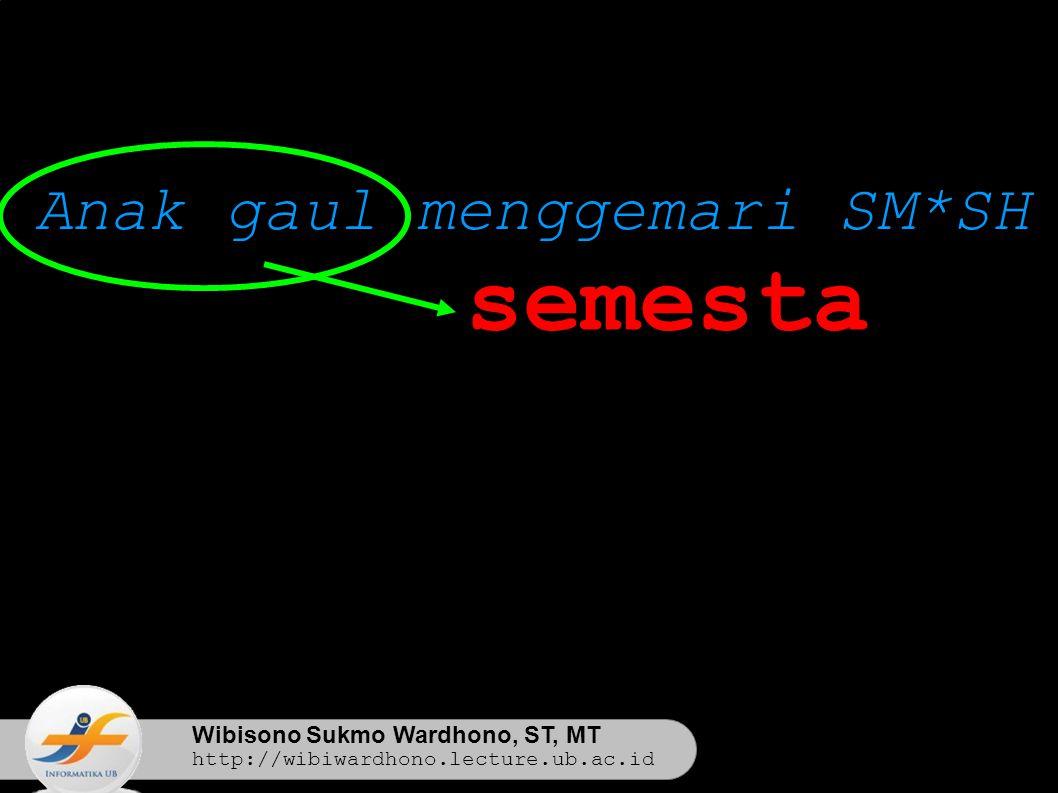 Wibisono Sukmo Wardhono, ST, MT http://wibiwardhono.lecture.ub.ac.id Anak gaul menggemari SM*SH semesta