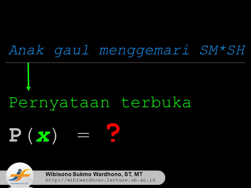 Wibisono Sukmo Wardhono, ST, MT http://wibiwardhono.lecture.ub.ac.id Anak gaul menggemari SM*SH P(x) = .
