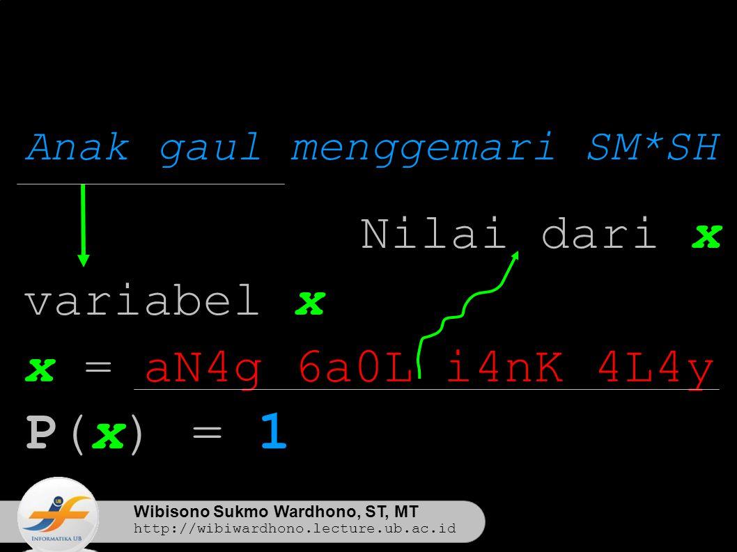 Wibisono Sukmo Wardhono, ST, MT http://wibiwardhono.lecture.ub.ac.id Anak gaul menggemari SM*SH x = aN4g 6a0L i4nK 4L4y variabel x P(x) = 1 Nilai dari x