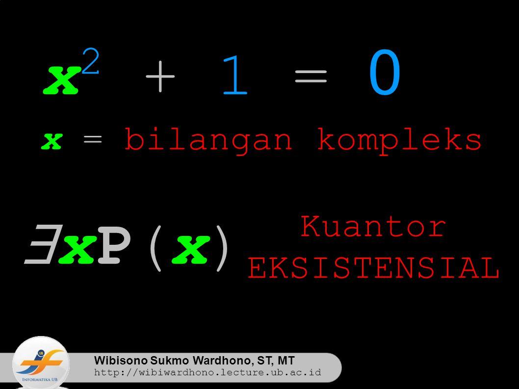 Wibisono Sukmo Wardhono, ST, MT http://wibiwardhono.lecture.ub.ac.id x 2 + 1 = 0 x = bilangan kompleks ∃xP(x)∃xP(x) Kuantor EKSISTENSIAL
