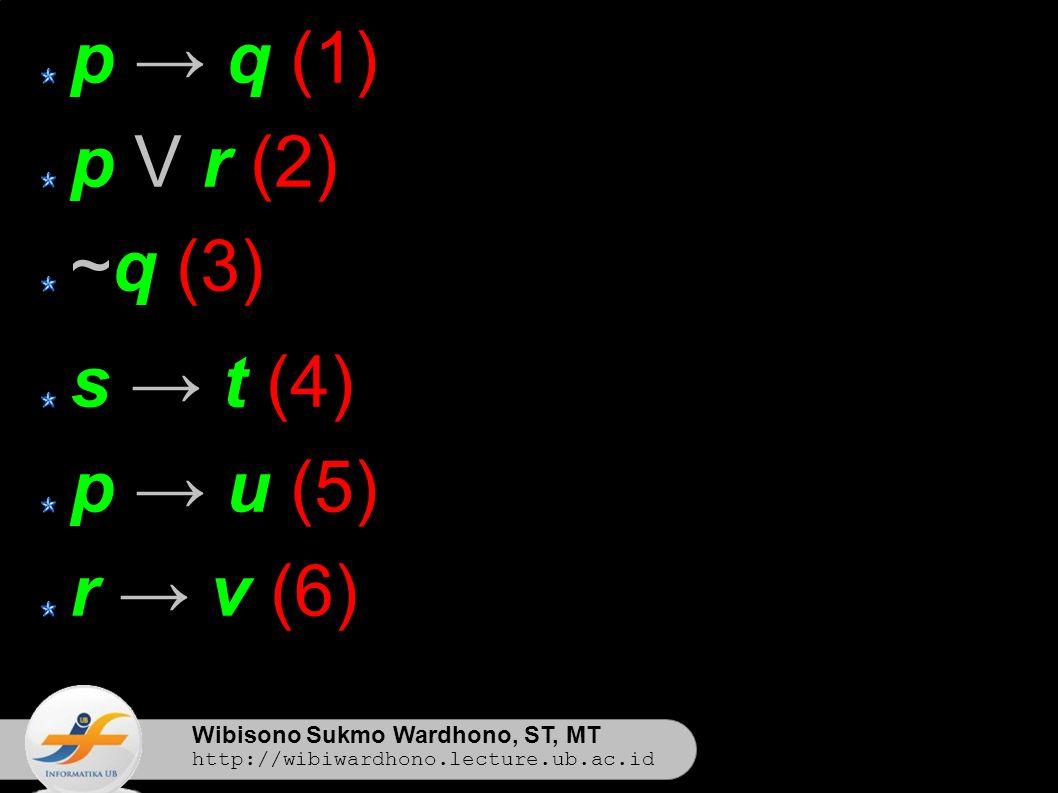 Wibisono Sukmo Wardhono, ST, MT http://wibiwardhono.lecture.ub.ac.id p → q (1) p V r (2) ~q (3) s → t (4) p → u (5) r → v (6)
