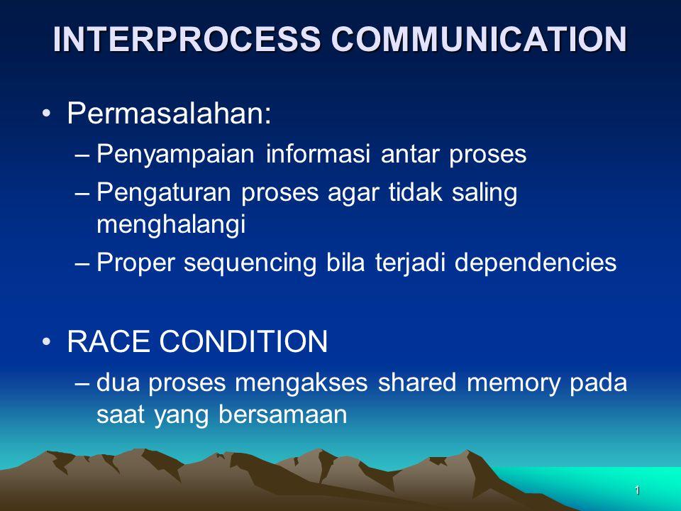 1 INTERPROCESS COMMUNICATION Permasalahan: –Penyampaian informasi antar proses –Pengaturan proses agar tidak saling menghalangi –Proper sequencing bil
