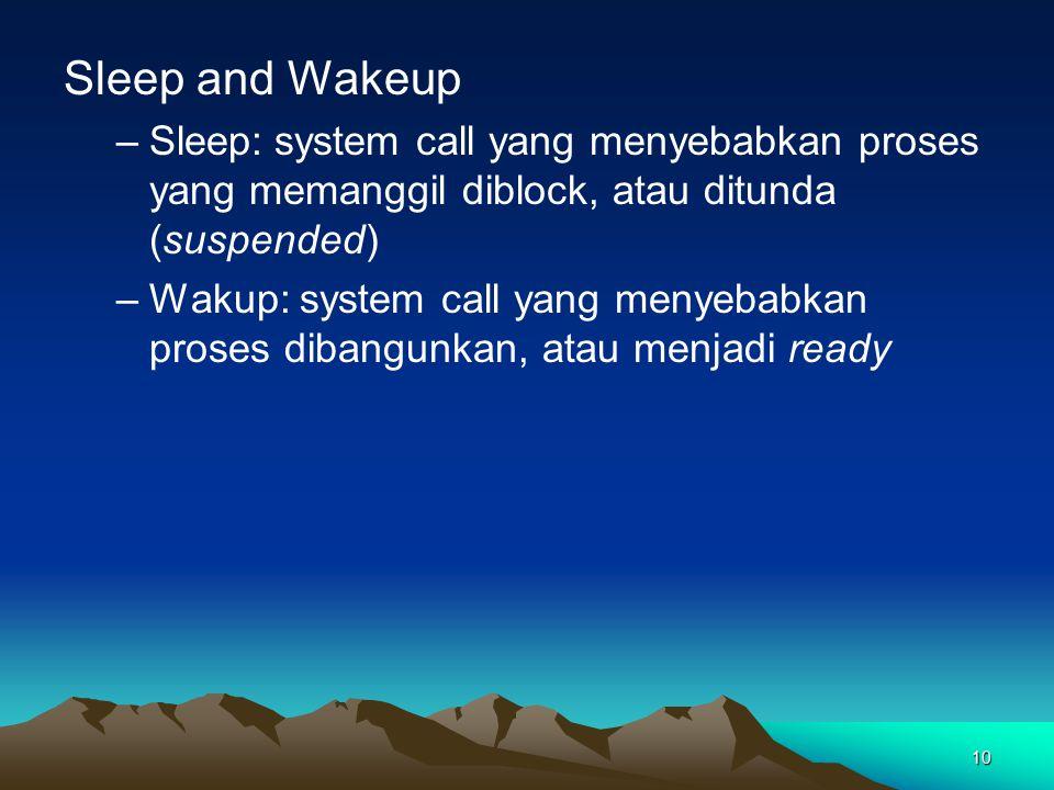 10 Sleep and Wakeup –Sleep:system call yang menyebabkan proses yang memanggil diblock, atau ditunda (suspended) –Wakup: system call yang menyebabkan p