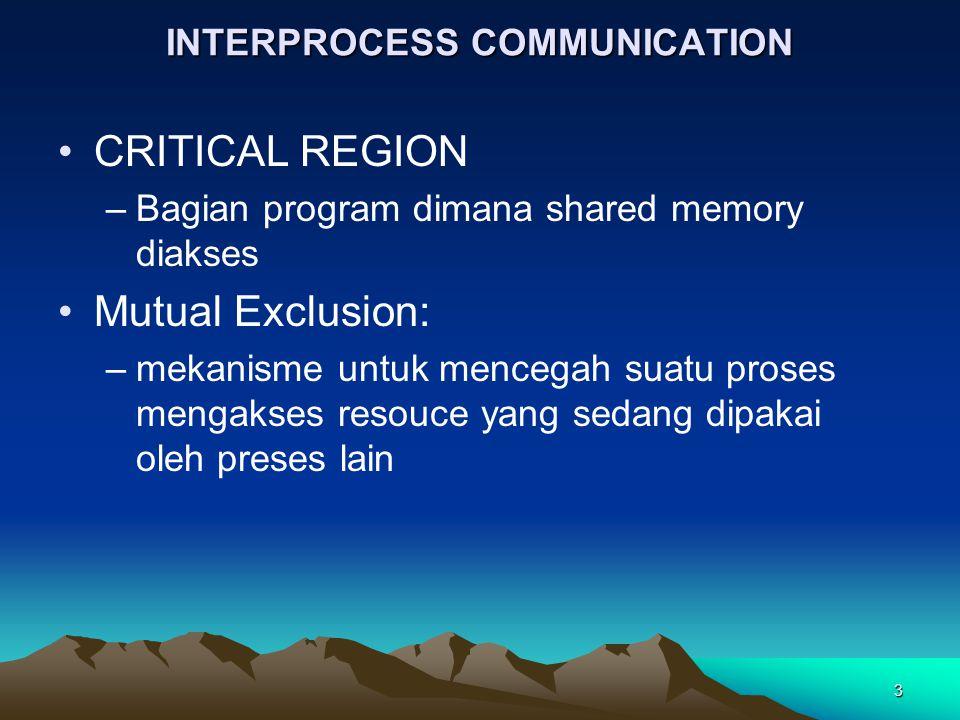 3 INTERPROCESS COMMUNICATION CRITICAL REGION –Bagian program dimana shared memory diakses Mutual Exclusion: –mekanisme untuk mencegah suatu proses men