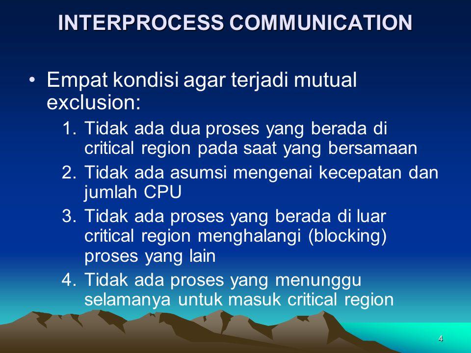 4 INTERPROCESS COMMUNICATION Empat kondisi agar terjadi mutual exclusion: 1.Tidak ada dua proses yang berada di critical region pada saat yang bersama