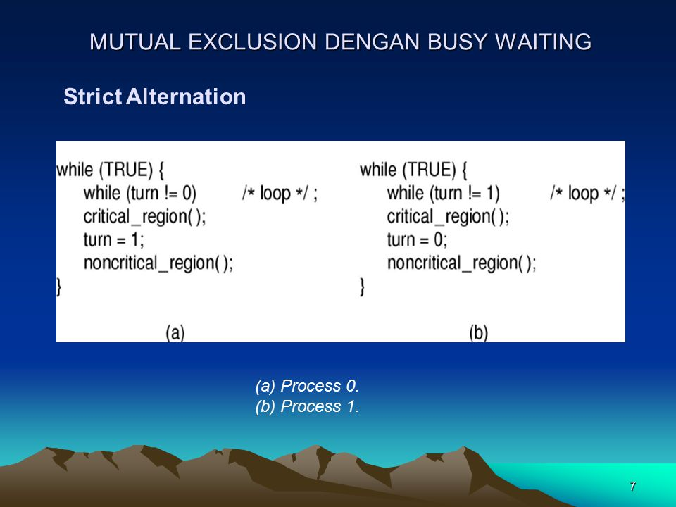 8 MUTUAL EXCLUSION DENGAN BUSY WAITING Peterson's Solution