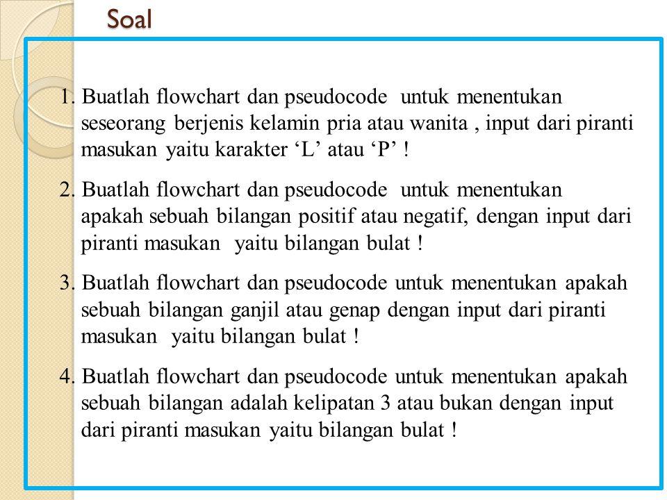 Soal 1. Buatlah flowchart dan pseudocode untuk menentukan seseorang berjenis kelamin pria atau wanita, input dari piranti masukan yaitu karakter 'L' a