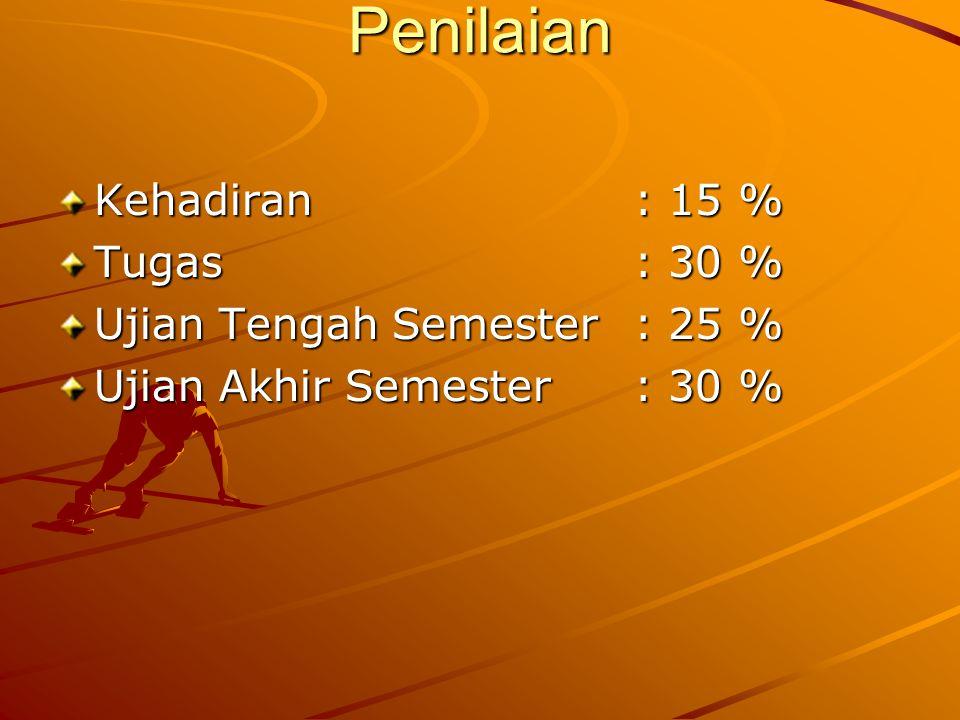 Penilaian Kehadiran: 15 % Tugas: 30 % Ujian Tengah Semester: 25 % Ujian Akhir Semester: 30 %