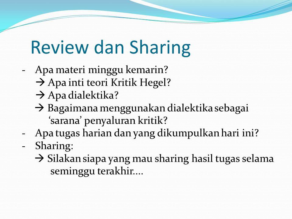 Review dan Sharing - Apa materi minggu kemarin. Apa inti teori Kritik Hegel.