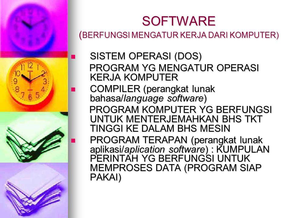 SOFTWARE ( BERFUNGSI MENGATUR KERJA DARI KOMPUTER) SISTEM OPERASI (DOS) SISTEM OPERASI (DOS) PROGRAM YG MENGATUR OPERASI KERJA KOMPUTER PROGRAM YG MENGATUR OPERASI KERJA KOMPUTER COMPILER (perangkat lunak bahasa/language software) COMPILER (perangkat lunak bahasa/language software) PROGRAM KOMPUTER YG BERFUNGSI UNTUK MENTERJEMAHKAN BHS TKT TINGGI KE DALAM BHS MESIN PROGRAM KOMPUTER YG BERFUNGSI UNTUK MENTERJEMAHKAN BHS TKT TINGGI KE DALAM BHS MESIN PROGRAM TERAPAN (perangkat lunak aplikasi/aplication software) : KUMPULAN PERINTAH YG BERFUNGSI UNTUK MEMPROSES DATA (PROGRAM SIAP PAKAI) PROGRAM TERAPAN (perangkat lunak aplikasi/aplication software) : KUMPULAN PERINTAH YG BERFUNGSI UNTUK MEMPROSES DATA (PROGRAM SIAP PAKAI)