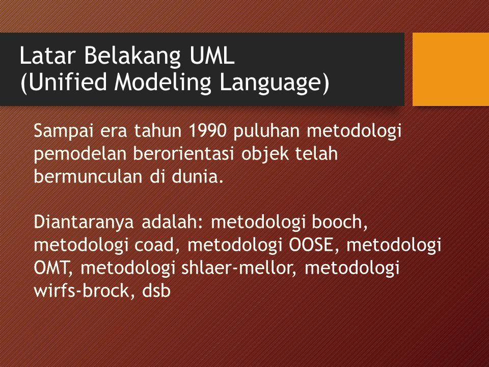 Latar Belakang UML (Unified Modeling Language) Sampai era tahun 1990 puluhan metodologi pemodelan berorientasi objek telah bermunculan di dunia. Diant
