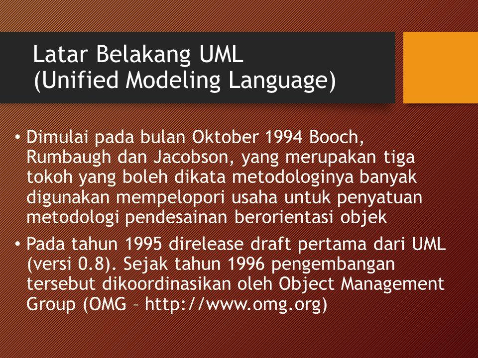 Latar Belakang UML (Unified Modeling Language) Dimulai pada bulan Oktober 1994 Booch, Rumbaugh dan Jacobson, yang merupakan tiga tokoh yang boleh dikata metodologinya banyak digunakan mempelopori usaha untuk penyatuan metodologi pendesainan berorientasi objek Pada tahun 1995 direlease draft pertama dari UML (versi 0.8).