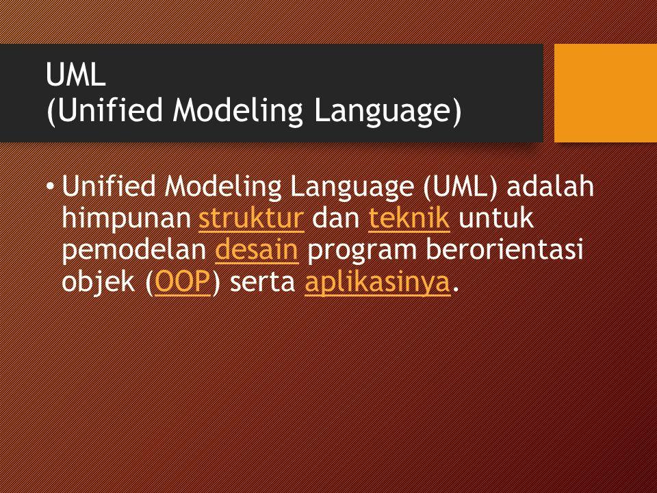 UML (Unified Modeling Language) Unified Modeling Language (UML) adalah himpunan struktur dan teknik untuk pemodelan desain program berorientasi objek