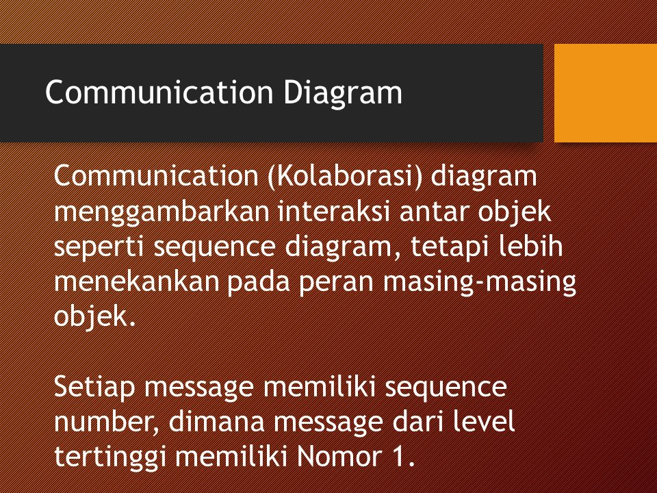 Communication Diagram Communication (Kolaborasi) diagram menggambarkan interaksi antar objek seperti sequence diagram, tetapi lebih menekankan pada peran masing-masing objek.