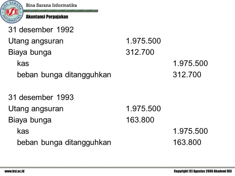 31 desember 1992 Utang angsuran1.975.500 Biaya bunga312.700 kas1.975.500 beban bunga ditangguhkan312.700 31 desember 1993 Utang angsuran1.975.500 Biaya bunga163.800 kas1.975.500 beban bunga ditangguhkan163.800