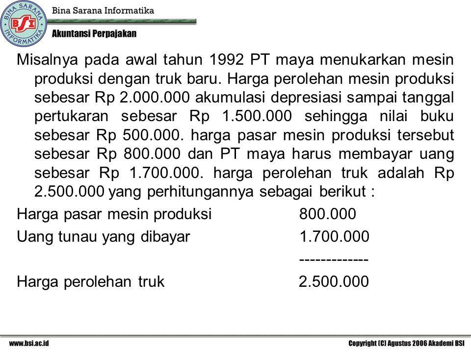 Misalnya pada awal tahun 1992 PT maya menukarkan mesin produksi dengan truk baru. Harga perolehan mesin produksi sebesar Rp 2.000.000 akumulasi depres