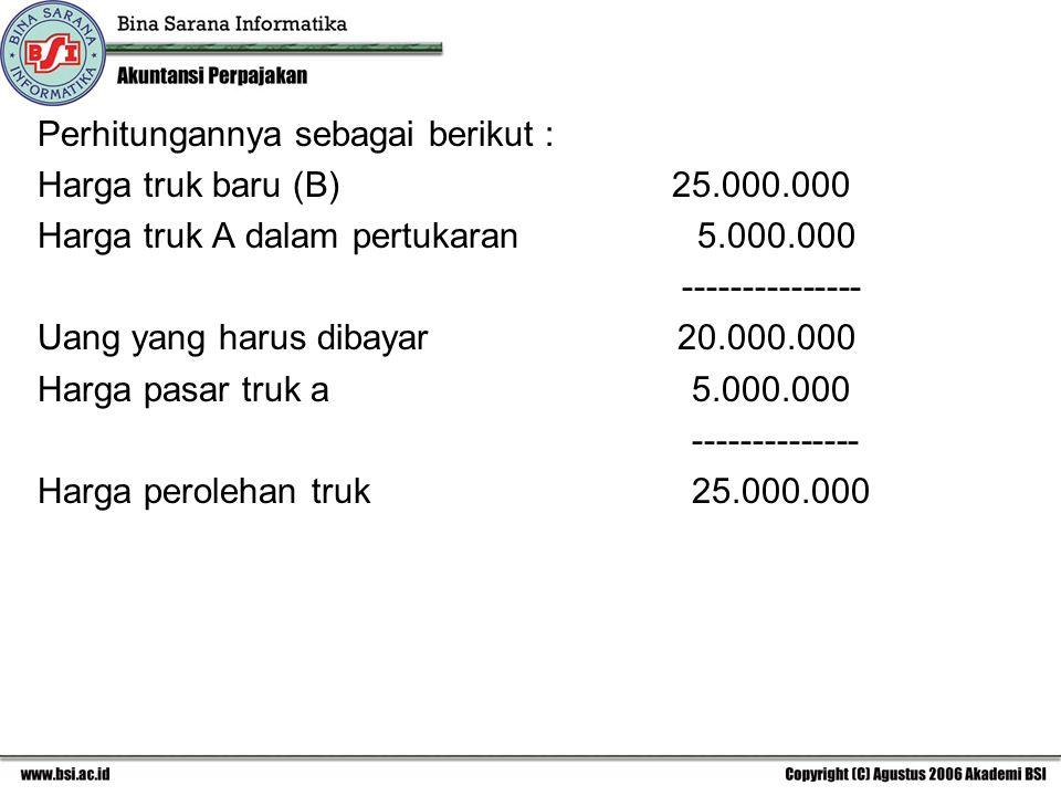 Perhitungannya sebagai berikut : Harga truk baru (B) 25.000.000 Harga truk A dalam pertukaran 5.000.000 --------------- Uang yang harus dibayar 20.000