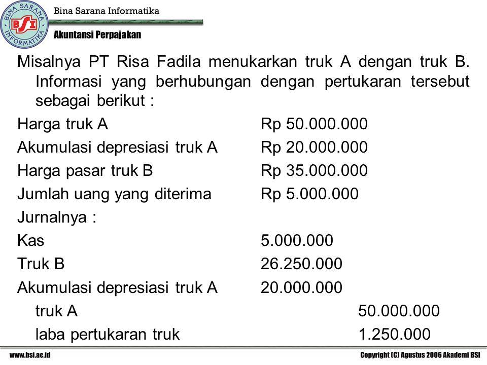 Misalnya PT Risa Fadila menukarkan truk A dengan truk B. Informasi yang berhubungan dengan pertukaran tersebut sebagai berikut : Harga truk ARp 50.000