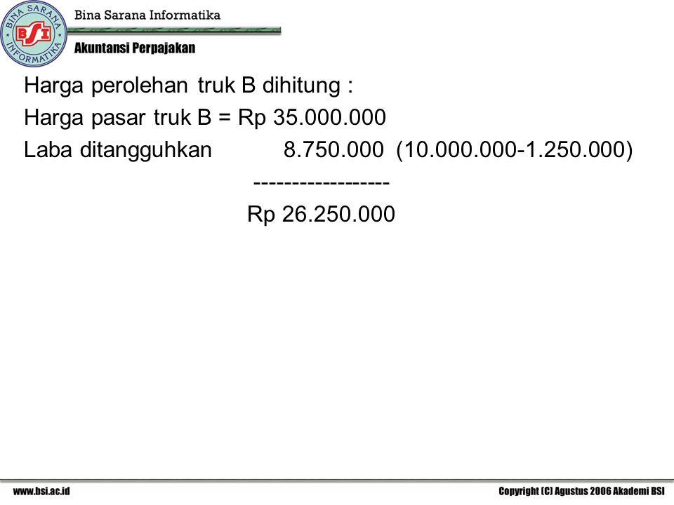 Harga perolehan truk B dihitung : Harga pasar truk B = Rp 35.000.000 Laba ditangguhkan 8.750.000 (10.000.000-1.250.000) ------------------ Rp 26.250.000
