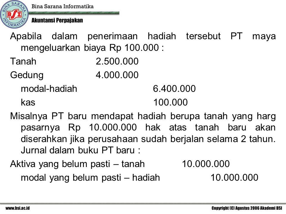 Apabila dalam penerimaan hadiah tersebut PT maya mengeluarkan biaya Rp 100.000 : Tanah2.500.000 Gedung4.000.000 modal-hadiah6.400.000 kas100.000 Misal
