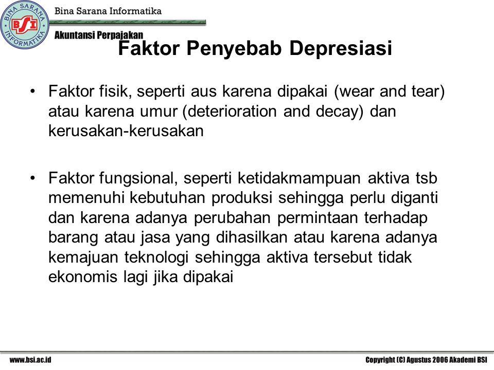 Faktor Penyebab Depresiasi Faktor fisik, seperti aus karena dipakai (wear and tear) atau karena umur (deterioration and decay) dan kerusakan-kerusakan