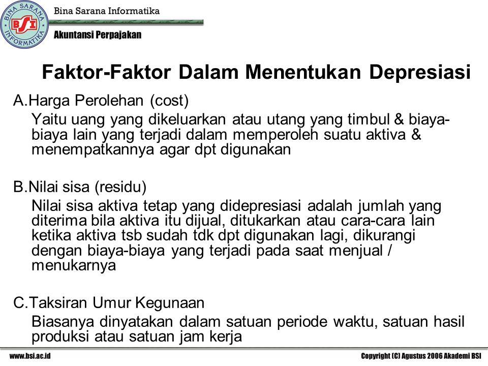 Faktor-Faktor Dalam Menentukan Depresiasi A.Harga Perolehan (cost) Yaitu uang yang dikeluarkan atau utang yang timbul & biaya- biaya lain yang terjadi