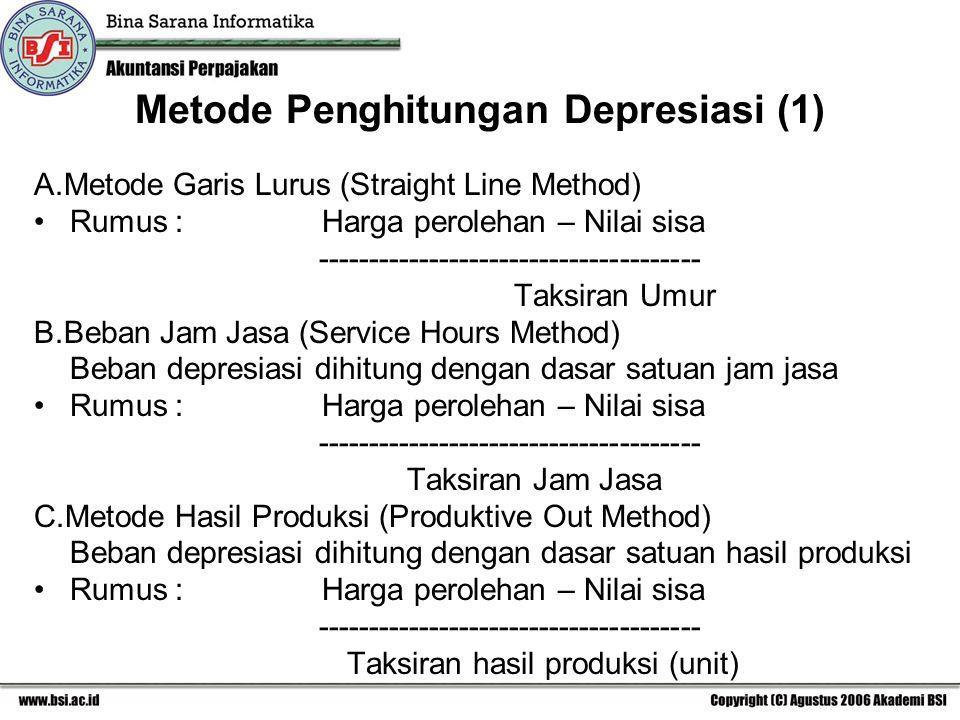 Metode Penghitungan Depresiasi (1) A.Metode Garis Lurus (Straight Line Method) Rumus : Harga perolehan – Nilai sisa -------------------------------------- Taksiran Umur B.Beban Jam Jasa (Service Hours Method) Beban depresiasi dihitung dengan dasar satuan jam jasa Rumus : Harga perolehan – Nilai sisa -------------------------------------- Taksiran Jam Jasa C.Metode Hasil Produksi (Produktive Out Method) Beban depresiasi dihitung dengan dasar satuan hasil produksi Rumus : Harga perolehan – Nilai sisa -------------------------------------- Taksiran hasil produksi (unit)