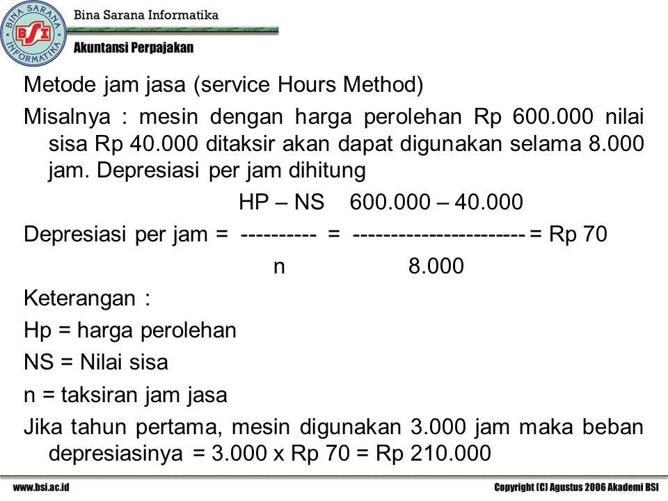 Metode jam jasa (service Hours Method) Misalnya : mesin dengan harga perolehan Rp 600.000 nilai sisa Rp 40.000 ditaksir akan dapat digunakan selama 8.