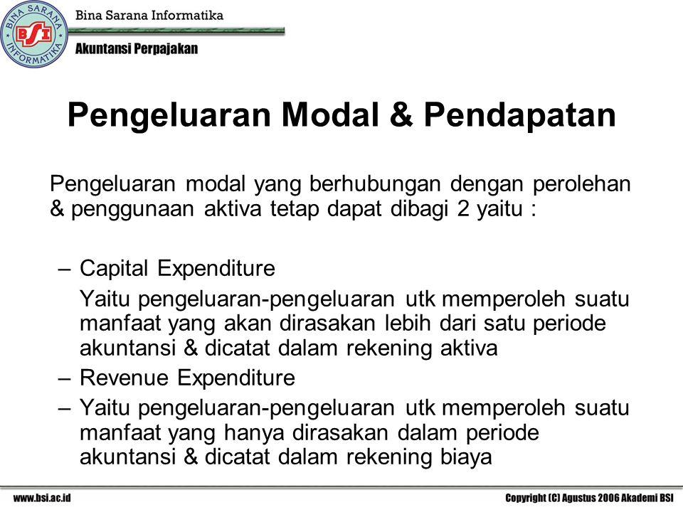 Pengeluaran Modal & Pendapatan Pengeluaran modal yang berhubungan dengan perolehan & penggunaan aktiva tetap dapat dibagi 2 yaitu : –Capital Expenditure Yaitu pengeluaran-pengeluaran utk memperoleh suatu manfaat yang akan dirasakan lebih dari satu periode akuntansi & dicatat dalam rekening aktiva –Revenue Expenditure –Yaitu pengeluaran-pengeluaran utk memperoleh suatu manfaat yang hanya dirasakan dalam periode akuntansi & dicatat dalam rekening biaya