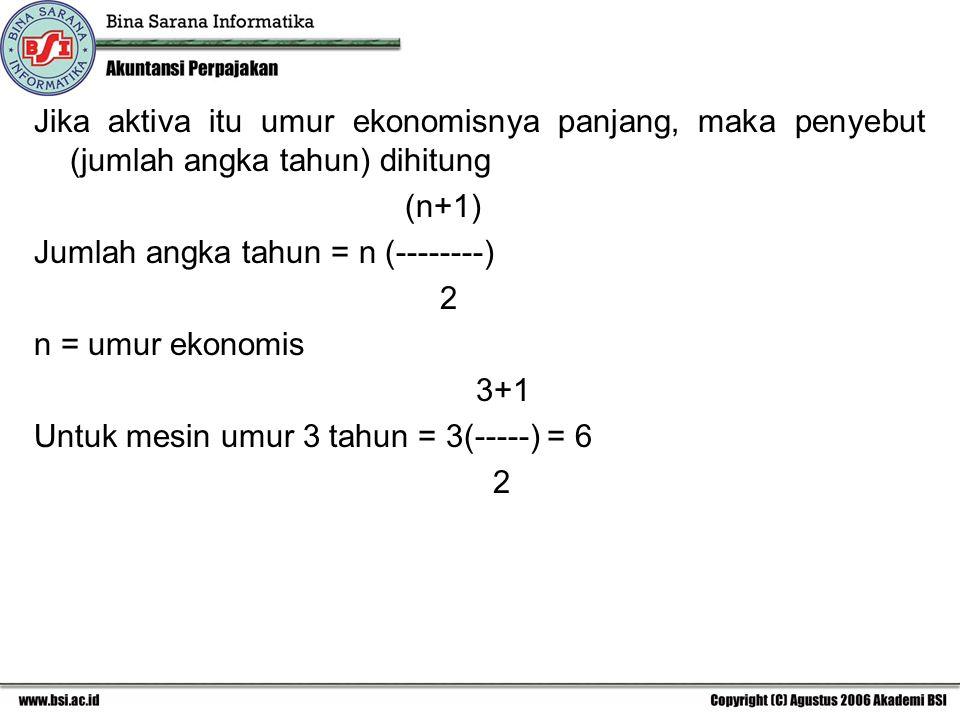 Jika aktiva itu umur ekonomisnya panjang, maka penyebut (jumlah angka tahun) dihitung (n+1) Jumlah angka tahun = n (--------) 2 n = umur ekonomis 3+1 Untuk mesin umur 3 tahun = 3(-----) = 6 2
