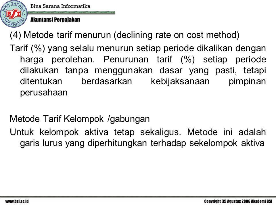 (4) Metode tarif menurun (declining rate on cost method) Tarif (%) yang selalu menurun setiap periode dikalikan dengan harga perolehan. Penurunan tari