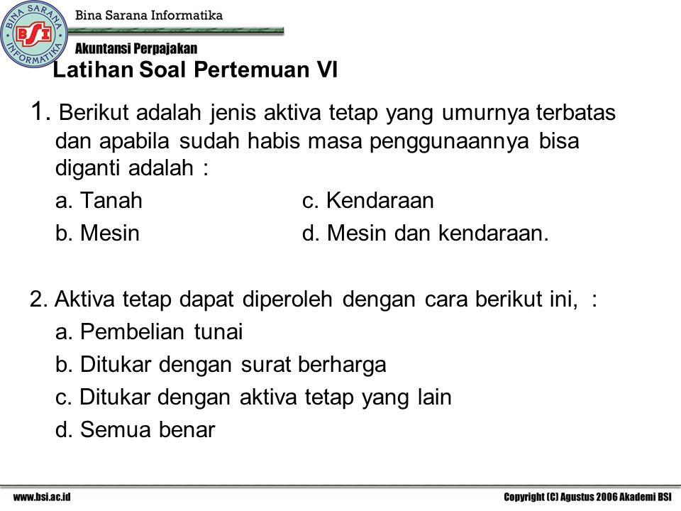 Latihan Soal Pertemuan VI 1.