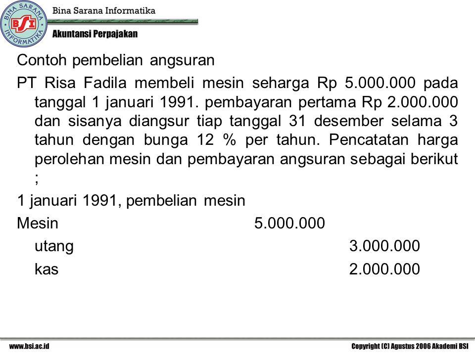 Contoh pembelian angsuran PT Risa Fadila membeli mesin seharga Rp 5.000.000 pada tanggal 1 januari 1991. pembayaran pertama Rp 2.000.000 dan sisanya d