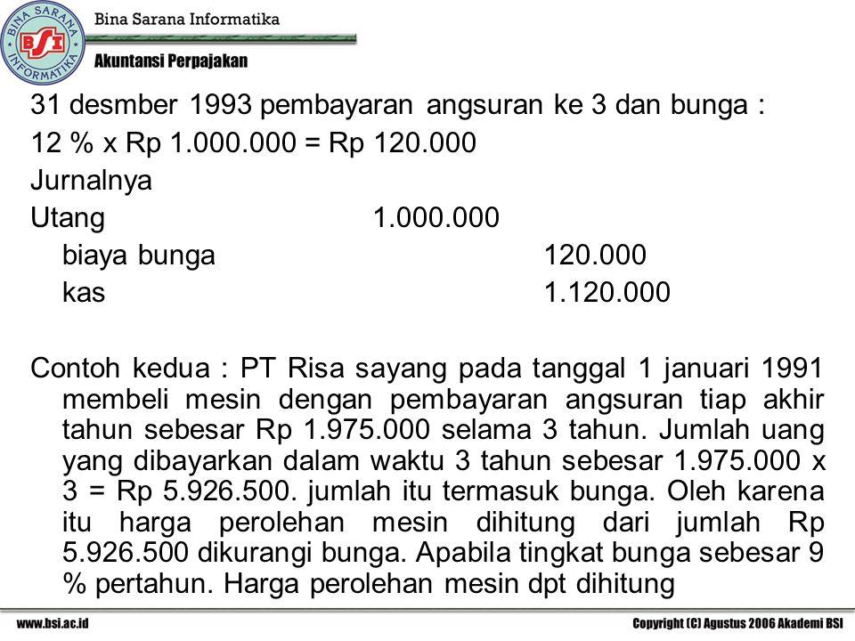 31 desmber 1993 pembayaran angsuran ke 3 dan bunga : 12 % x Rp 1.000.000 = Rp 120.000 Jurnalnya Utang1.000.000 biaya bunga120.000 kas1.120.000 Contoh kedua : PT Risa sayang pada tanggal 1 januari 1991 membeli mesin dengan pembayaran angsuran tiap akhir tahun sebesar Rp 1.975.000 selama 3 tahun.