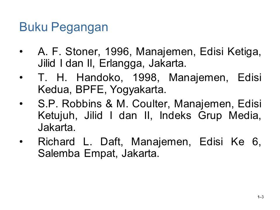1–3 Buku Pegangan A. F. Stoner, 1996, Manajemen, Edisi Ketiga, Jilid I dan II, Erlangga, Jakarta.